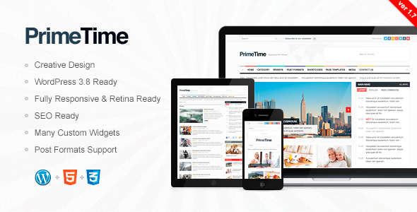 PrimeTime - Clean, Responsive WP Magazine - Blog / Magazine WordPress
