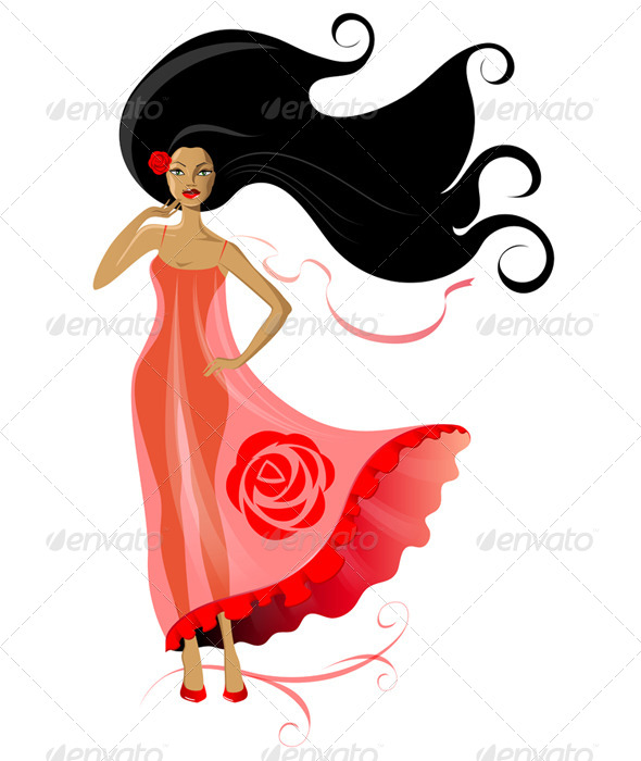 Woman in Pink Dress - People Characters