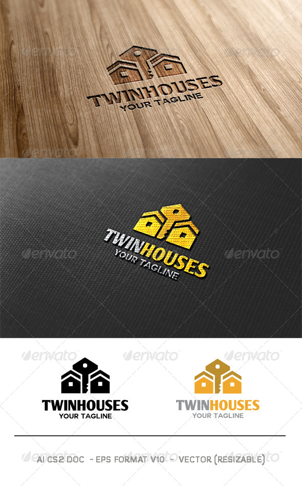 Twin Houses Logo - Buildings Logo Templates