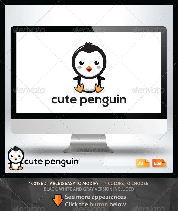 Cute Penguin Logo - Animals Logo Templates