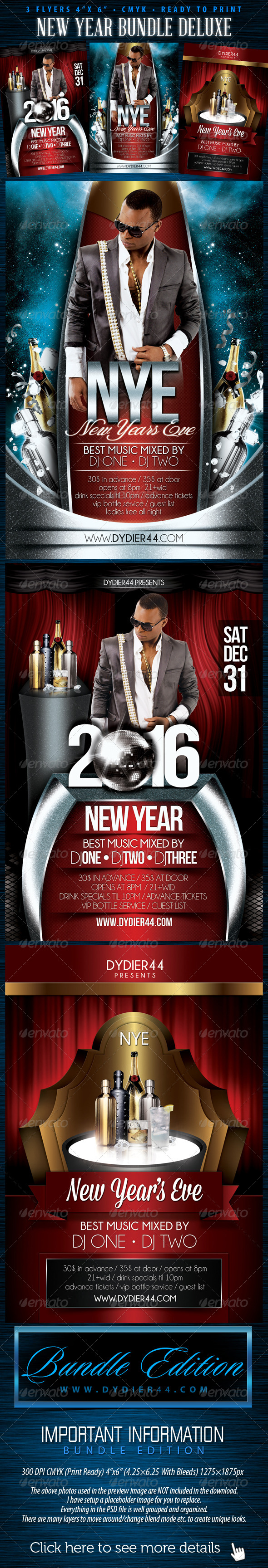 New Years Bundle Deluxe  (Flyer Template 4x6) - Events Flyers