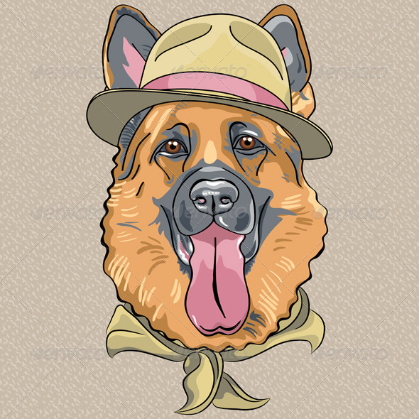 Hipster Dog German Shepherd - Animals Characters