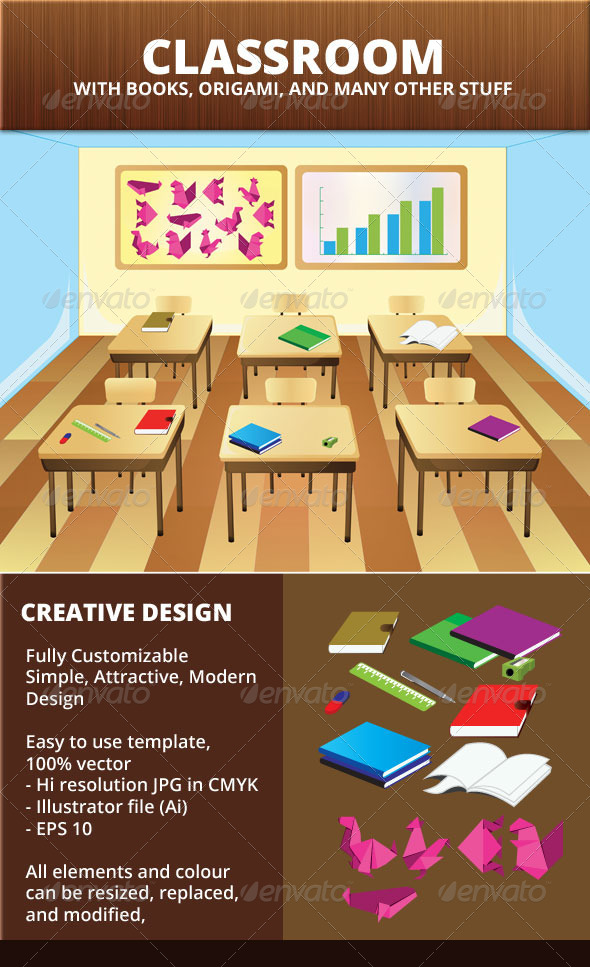Classroom Vector Background - Backgrounds Decorative