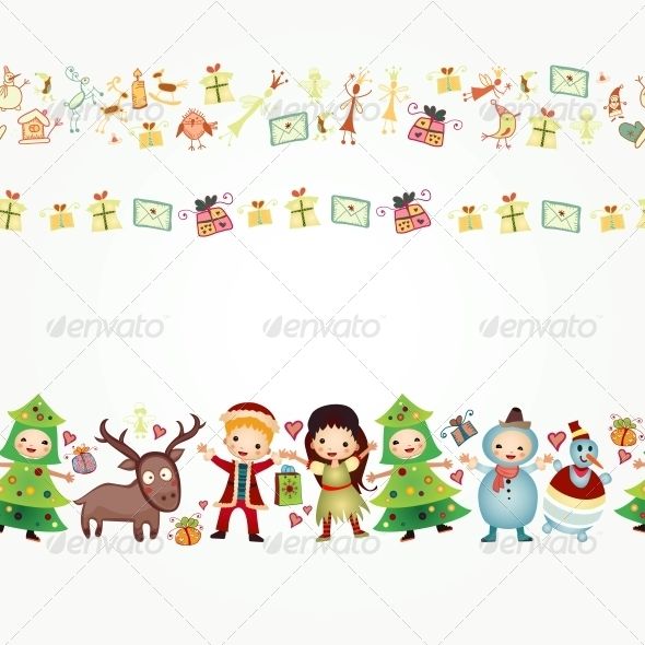 Border with Children and Gifts - Borders Decorative