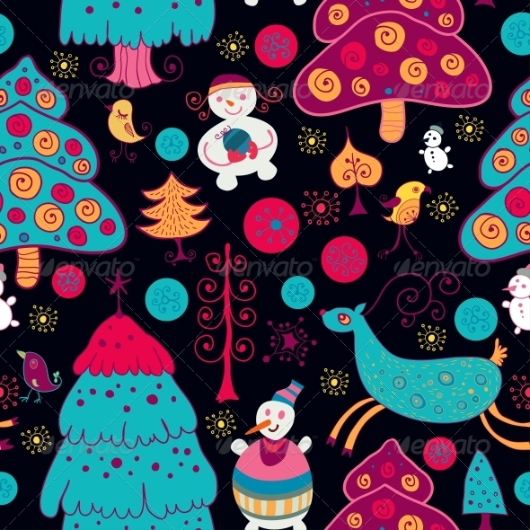 Bright Pattern with Christmas Toys - Patterns Decorative
