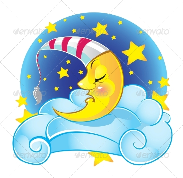 Sleeping Yellow Moon in Cap on the Cloud - Miscellaneous Characters