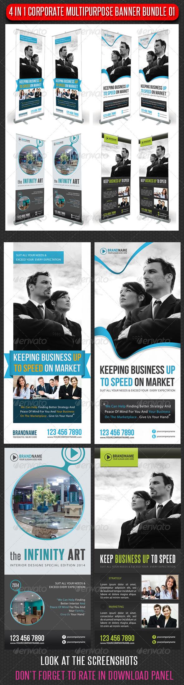 4 in 1 Corporate Multipurpose Banner Bundle 02 - Signage Print Templates