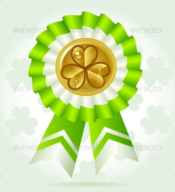 Clover Award on St. PatricK`s Day with Gold Coin - Miscellaneous Seasons/Holidays