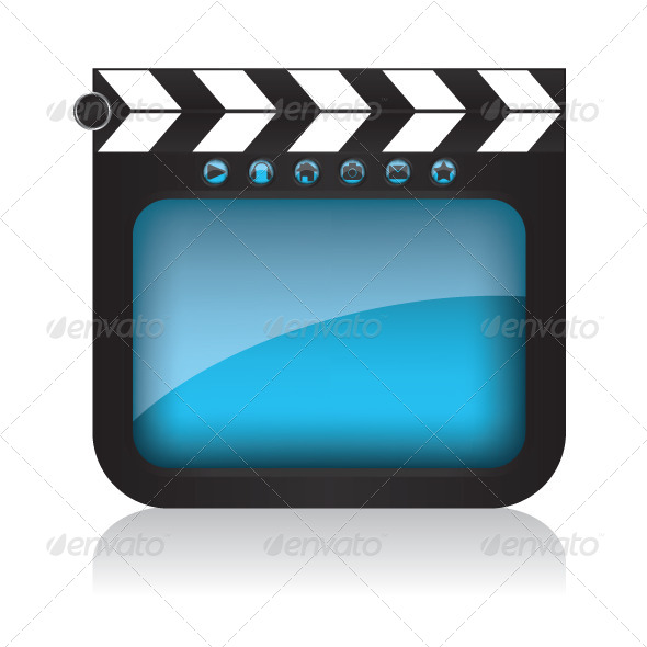 Clapper Board Illustration and Web Buttons - Web Elements Vectors