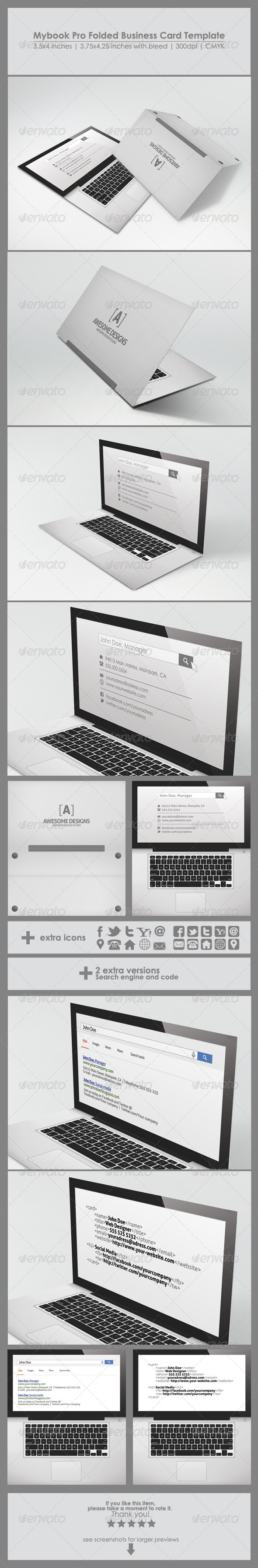 Mybook pro folded business card template by zeppelingraphics mybook pro folded business card template real objects business cards wajeb Image collections
