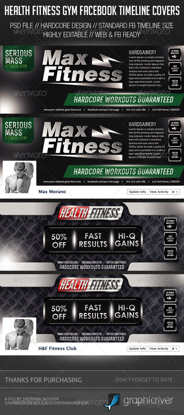 Health Fitness Gym Facebook Cover Photos - Facebook Timeline Covers Social Media