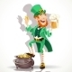 Leprechaun Drinking Beer and Protects Pot - GraphicRiver Item for Sale
