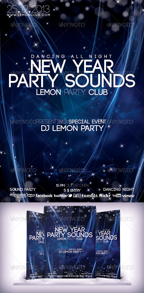 New Year Party Sound Flyer - Clubs & Parties Events