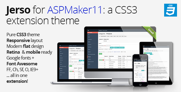 Jerso, a CSS3 extension theme for ASPMaker 11 - CodeCanyon Item for Sale