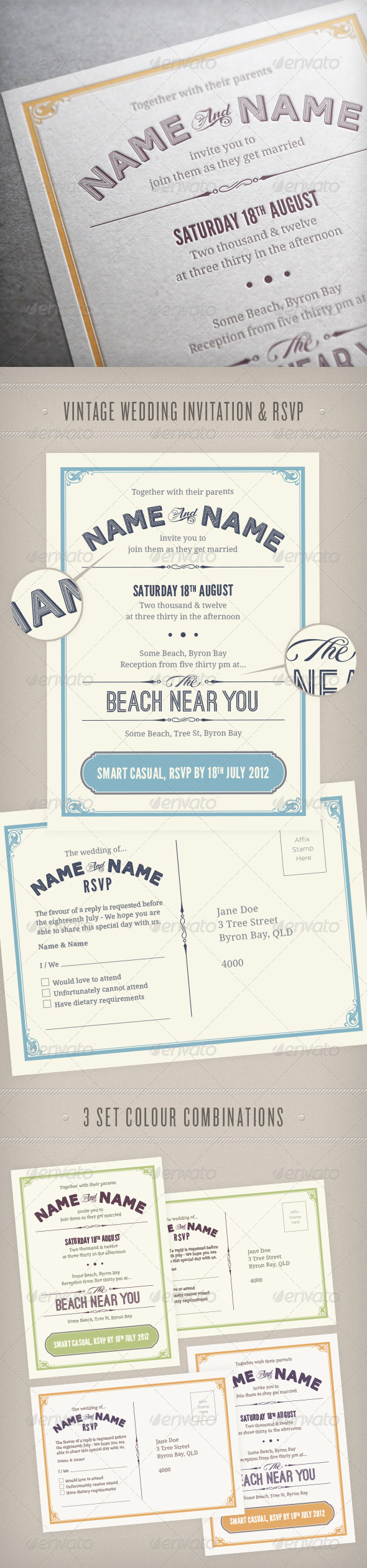 Vintage Wedding Invitation & RSVP - Weddings Cards & Invites