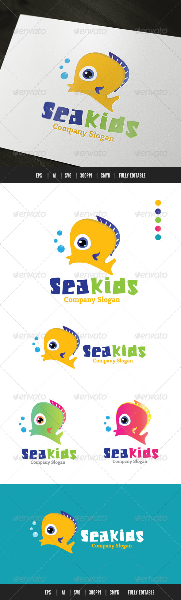 Sea Kids - Animals Logo Templates