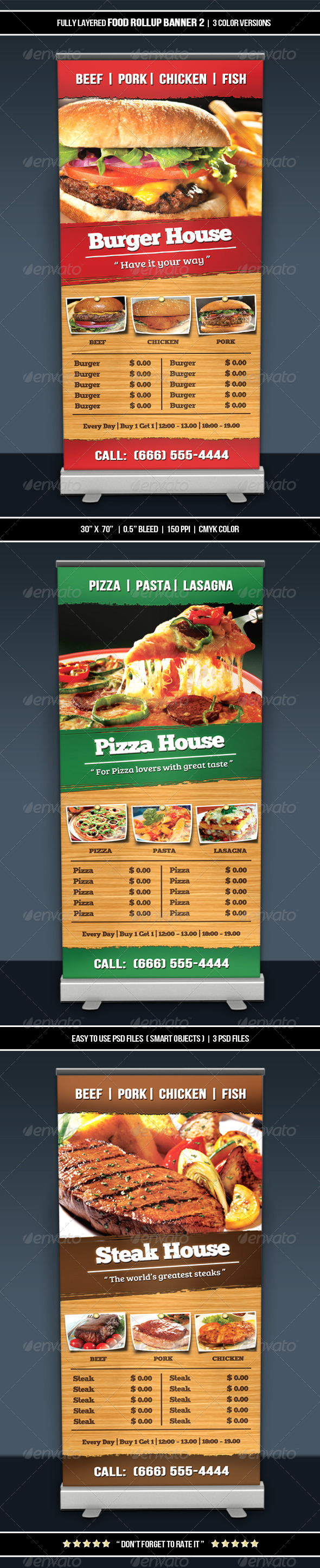 Food Roll-up Banner 2 - Restaurant Flyers