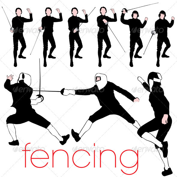 9 Detailed Fencing Silhouettes - Sports/Activity Conceptual