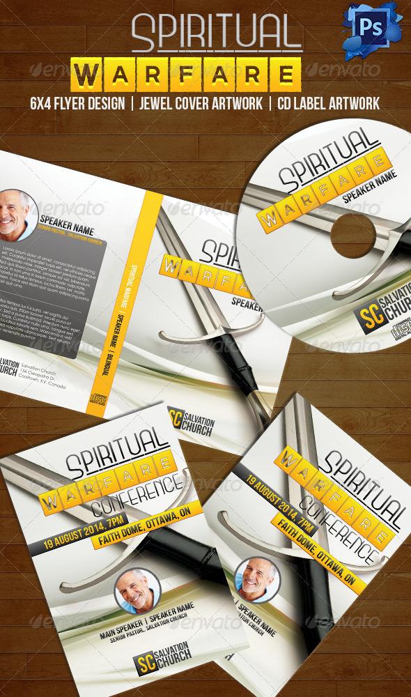 Spiritual Warfare Disc Label, Jewel Cover & Flyer - CD & DVD Artwork Print Templates