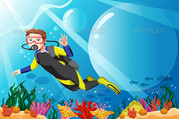 Scuba Diver in the Ocean - People Characters