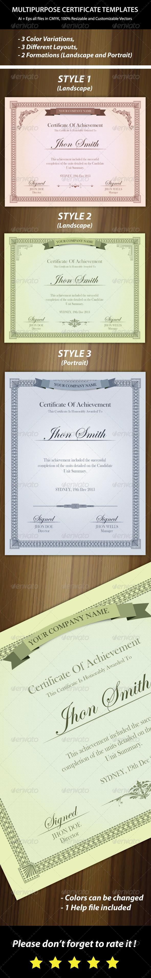 3 Colors Multipurpose Certificates - Certificates Stationery