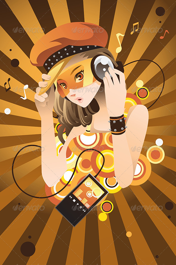 Girl Listening to Music - People Characters