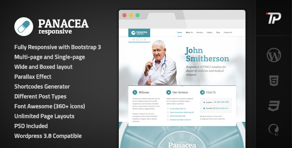 Panacea Medical Parallax Responsive WP Theme - Health & Beauty Retail