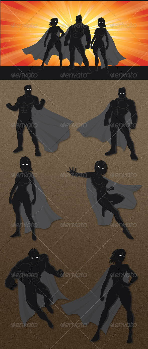 Superhero Silhouettes - Characters Vectors