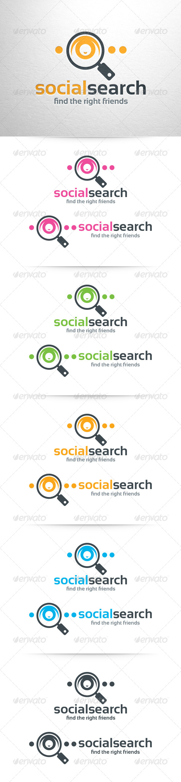 Social Search Logo Template - Humans Logo Templates
