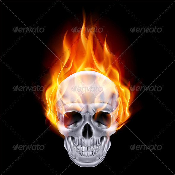Fiery Skull. - Objects Vectors
