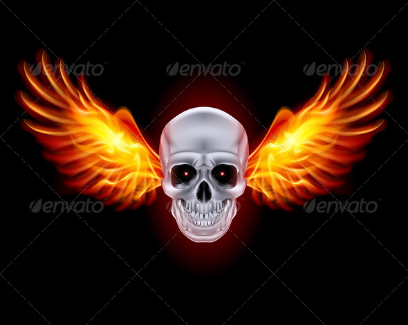 Skull with Fire Wings - Tattoos Vectors