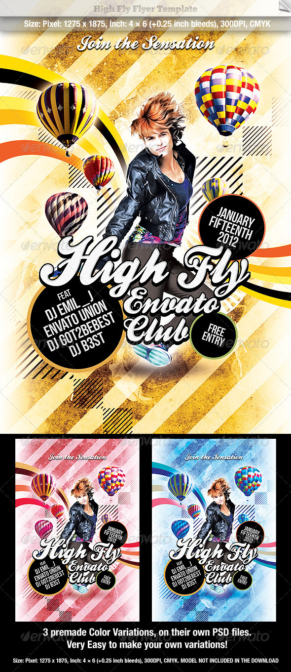 High Fly Flyer Template - Clubs & Parties Events
