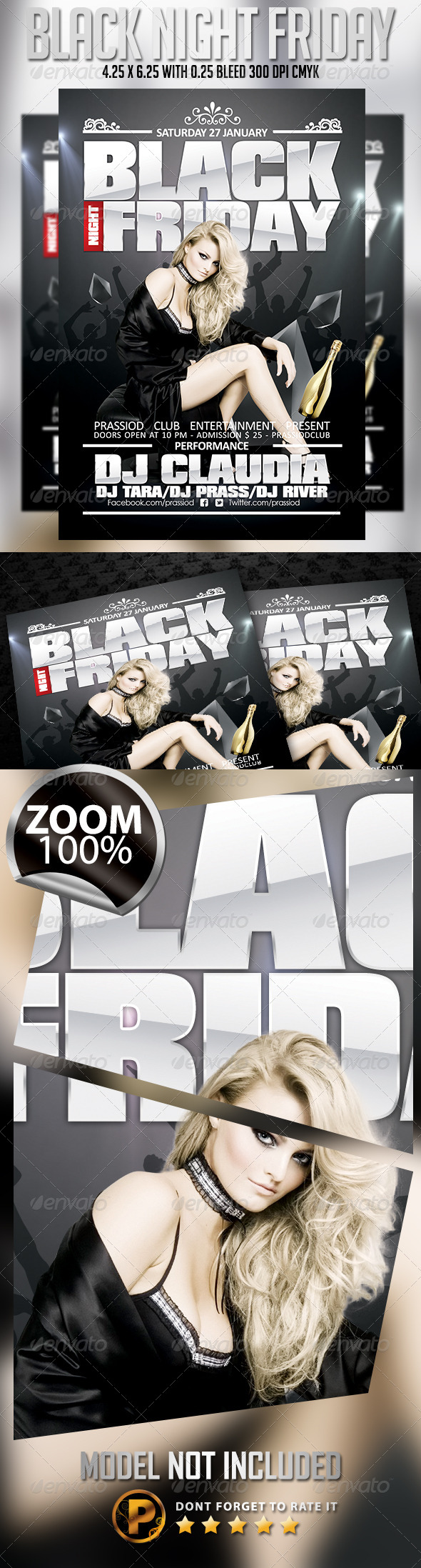 Black Night Friday Flyer Template - Clubs & Parties Events