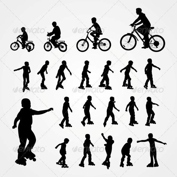 Silhouettes of Roller Skating and Bicyclist - People Characters