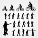 Silhouettes of Roller Skating and Bicyclist