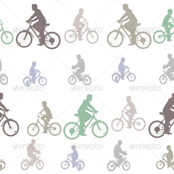 Seamless Pattern of Cyclists Silhouettes  - People Characters