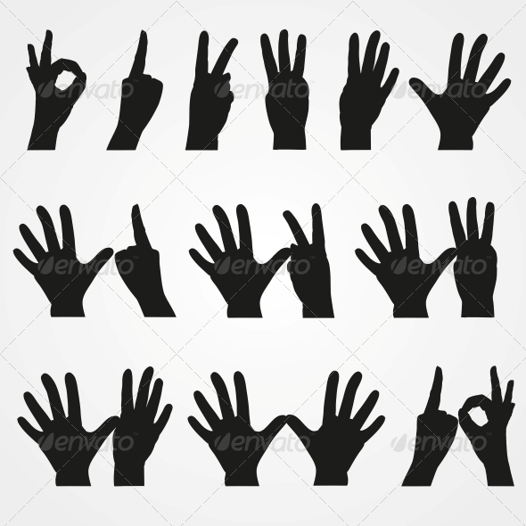 Illustrations of Numbers in the Form of Hands  - People Characters