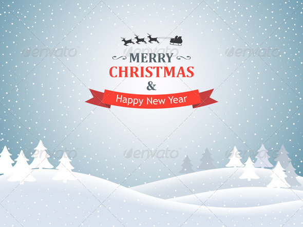 Christmas Background with Winter Landscape - Christmas Seasons/Holidays