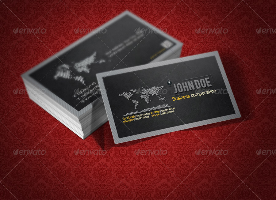 Creative World Map Business Card QA Design by QaderAmiriFard ...