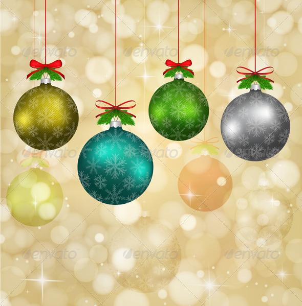 Christmas Balls with Red Ribbons  - Christmas Seasons/Holidays