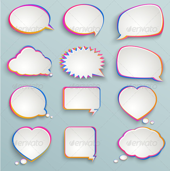 Paper Speech Bubbles - Decorative Symbols Decorative