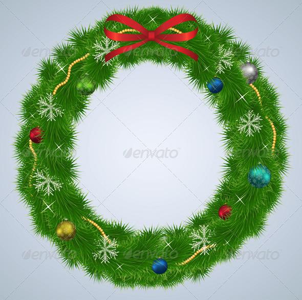 Green Christmas Wreath with Ornaments - Christmas Seasons/Holidays
