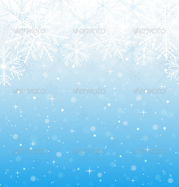 Blue Background with Snowflakes - Christmas Seasons/Holidays