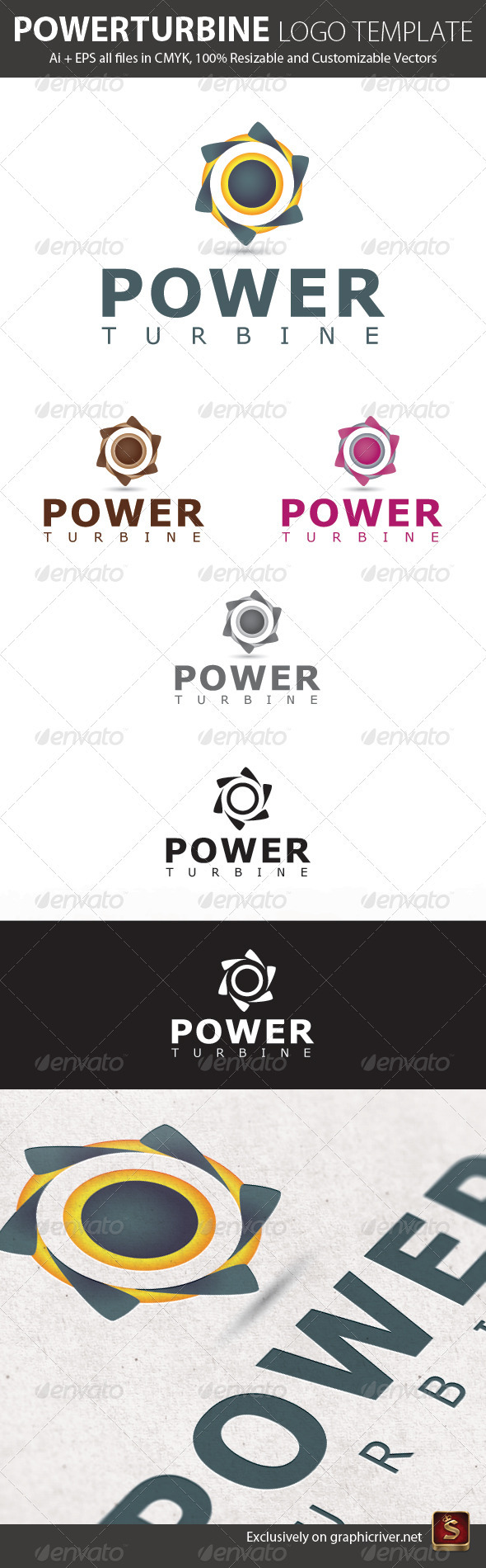 Power Turbine Logo Template - Vector Abstract
