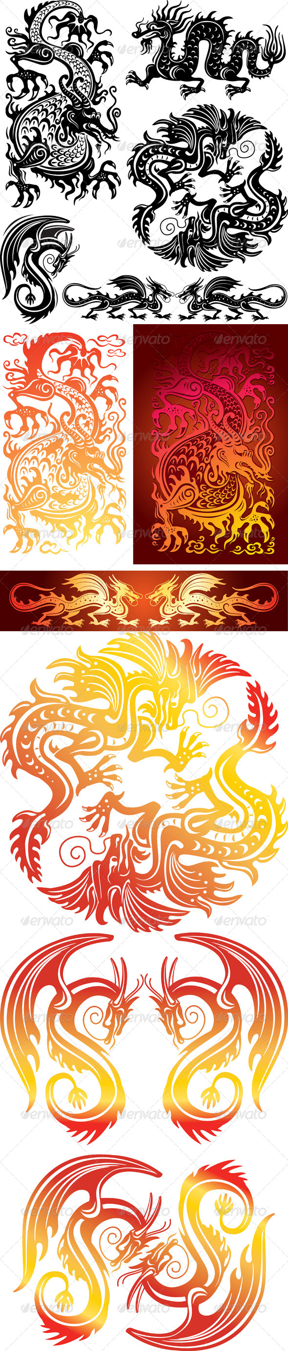 Set of the Dragons - Decorative Symbols Decorative