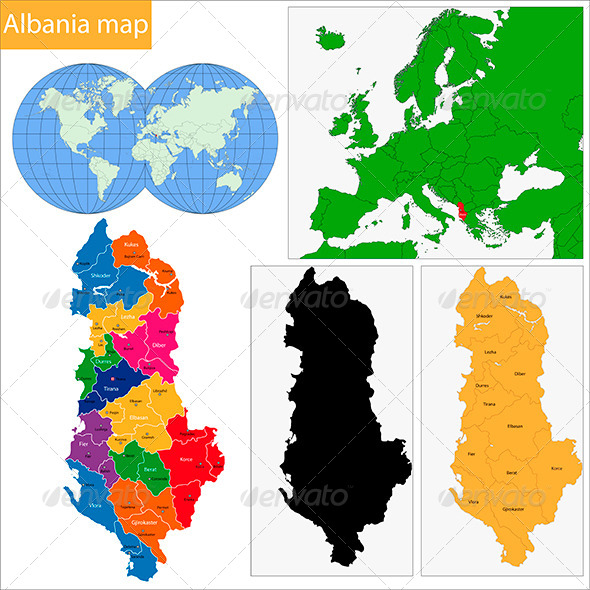 Albania Map - Travel Conceptual