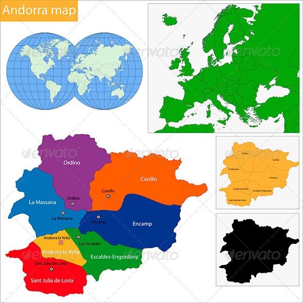 Andorra Map - Travel Conceptual