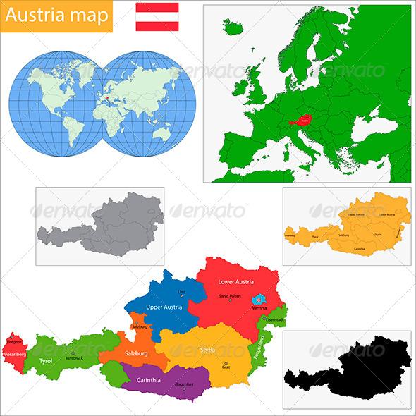 Austria Map - Travel Conceptual