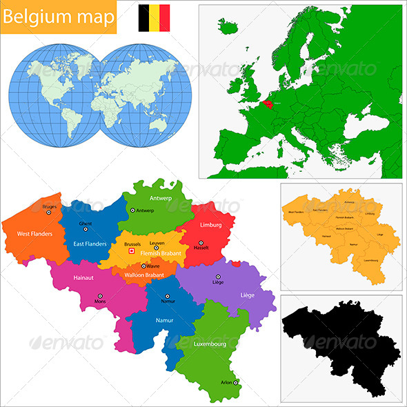 Belgium Map - Travel Conceptual