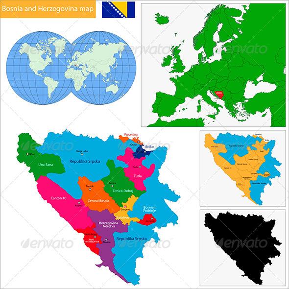 Bosnia and Herzegovina Map - Travel Conceptual
